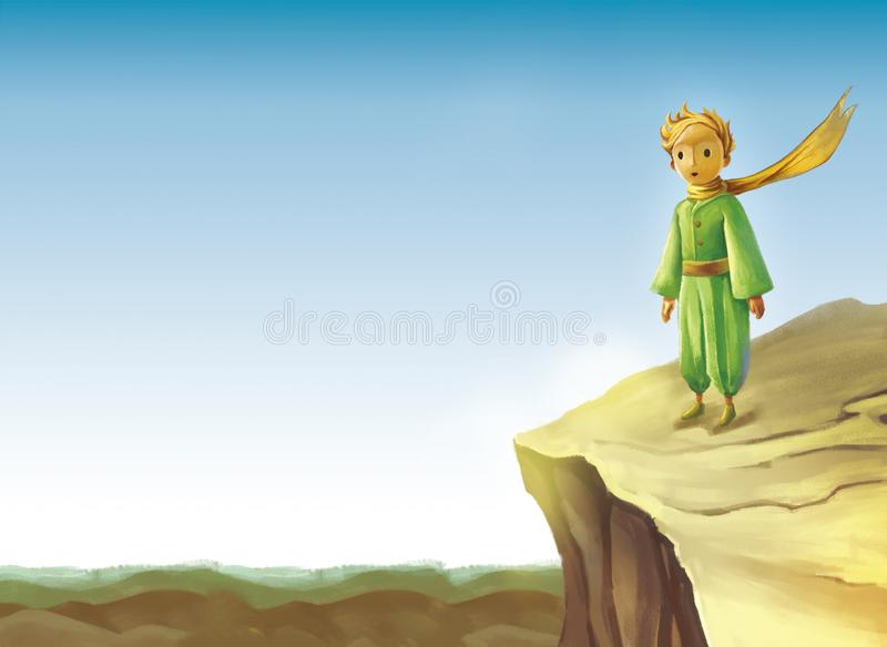 Little prince stands on the edge of a cliff. The Yellow haired little prince was dressed in green stands on the edge of a cliff,Below is the sea royalty free illustration