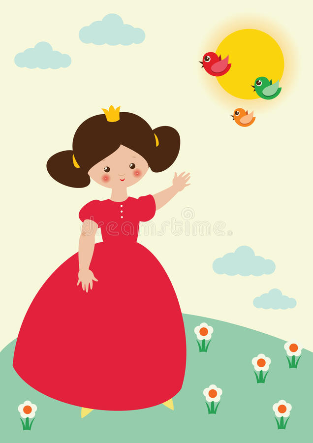 Download Little princess and birds stock illustration. Image of character - 18821778