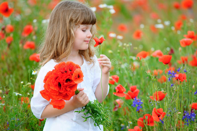 little princess child with red wild flowers. Beauty girl portrait outdoors stock photography