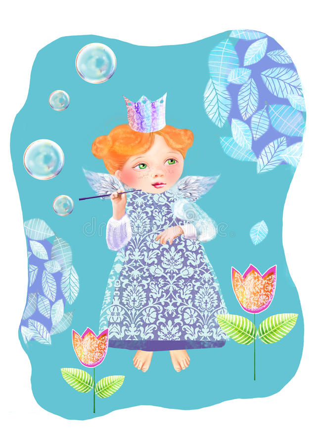 A little princess among the flowers blowing soap bubbles. Cute fairy blows soap bubbles in the garden.  vector illustration