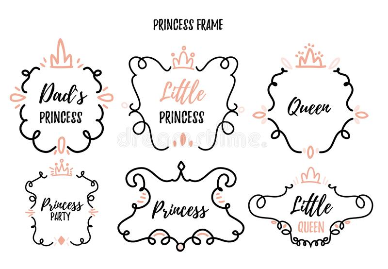 Little princess frame set in doodle style for baby shower, birthday party stock illustration