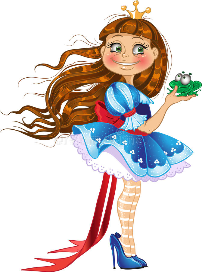 Little princess with frog stock image