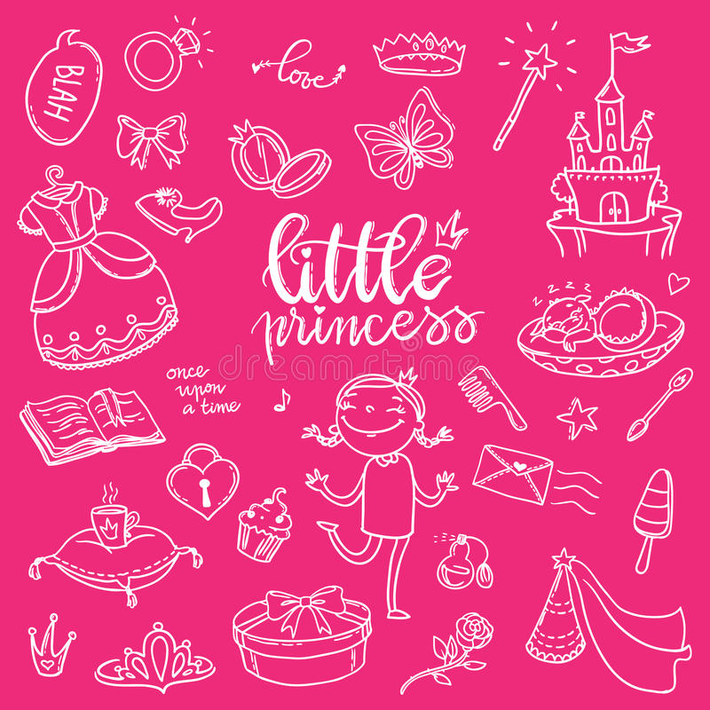 Little princess funny graphic set. Girls dress, butterfly, mirror, sweets, gifts, diamond ring, dragon, hearts and stars. Isolate stock illustration