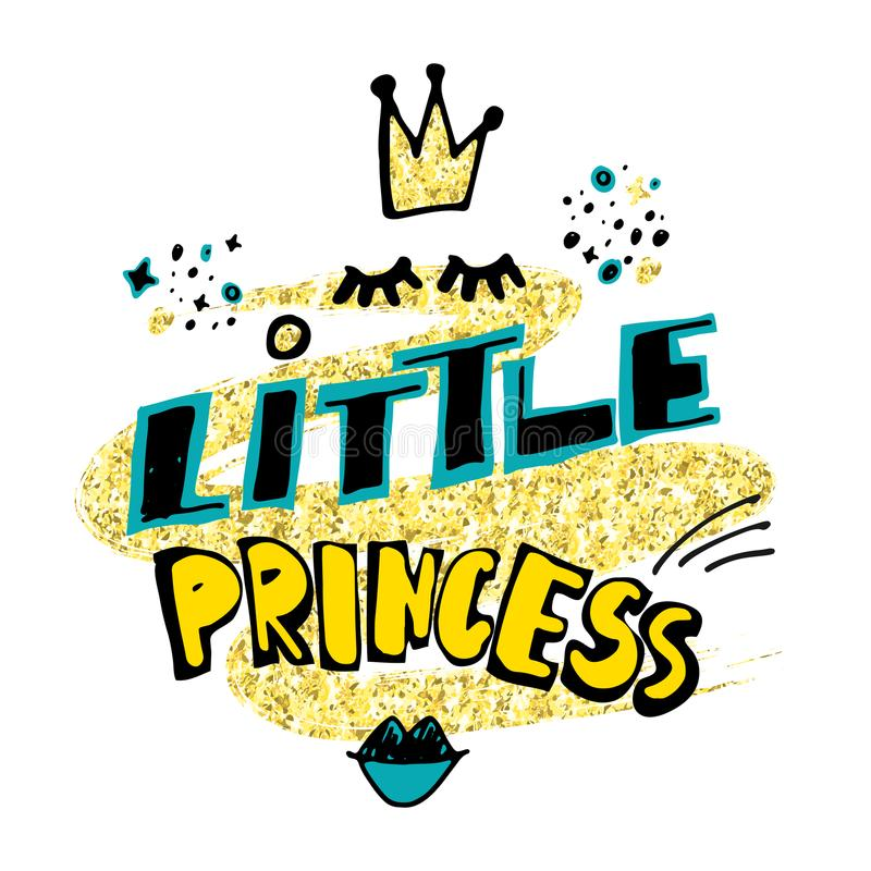 Little princess. Hand drawn lettering with cartoon crown, eyelashes, lipstick kiss on golden glitter paint background. royalty free illustration