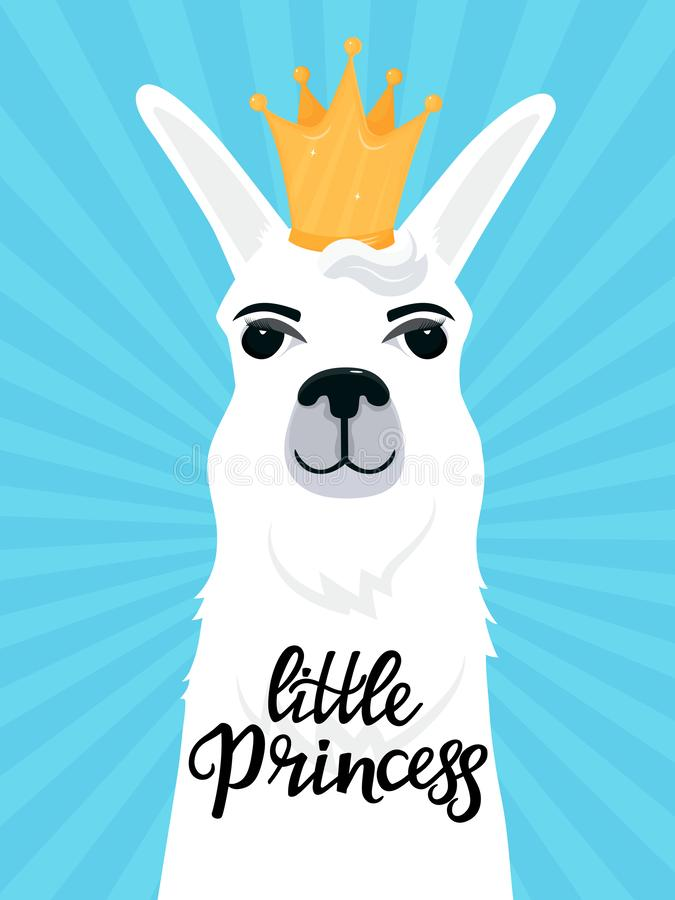 Little Princess hand drawn lettering. llama with a cartoon golden crown. T-shirt print or card design royalty free illustration