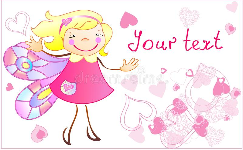 Download The Little Princess With The Hearts Stock Vector - Image: 26721329