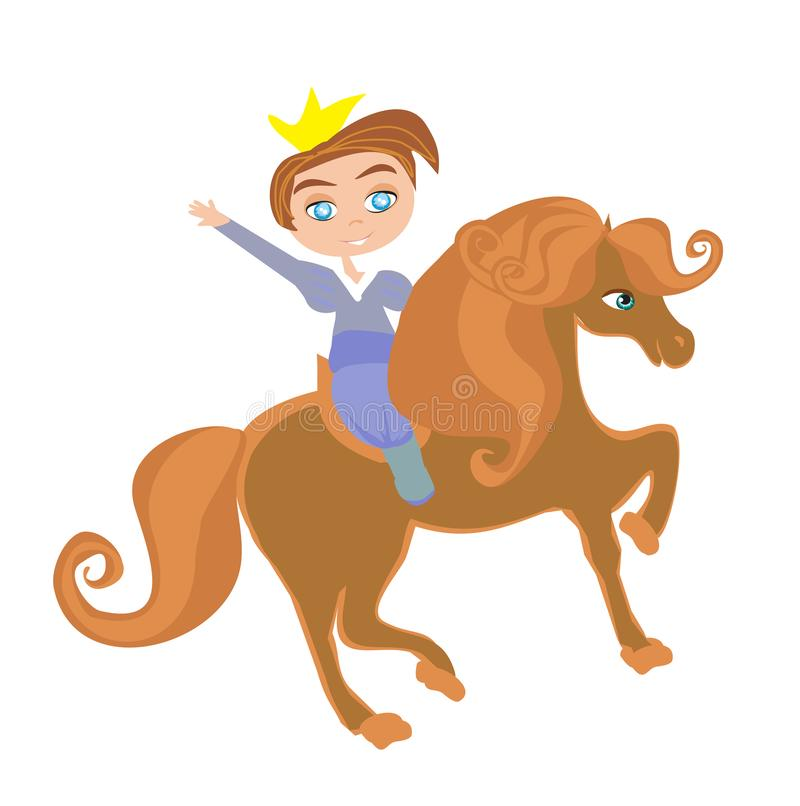 Little princess on horse. Funny isolated illustration stock illustration