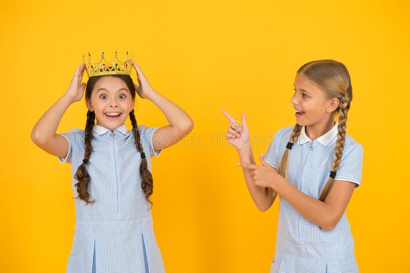 Little princess. Motivational award for school children. Succeed in education. Celebrating success. She is the best stock image