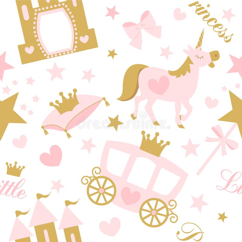 Cute girlish seamless pattern with royal carriage,castle and unicorn. Vector pink background with crown and star. Little princess party birth, baby shower stock illustration