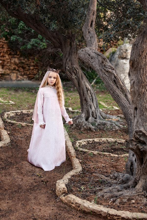 A little princess of spirits and fairies stands in the enchanted mysterious magic forest in a wedding dress with a veil and crown stock images