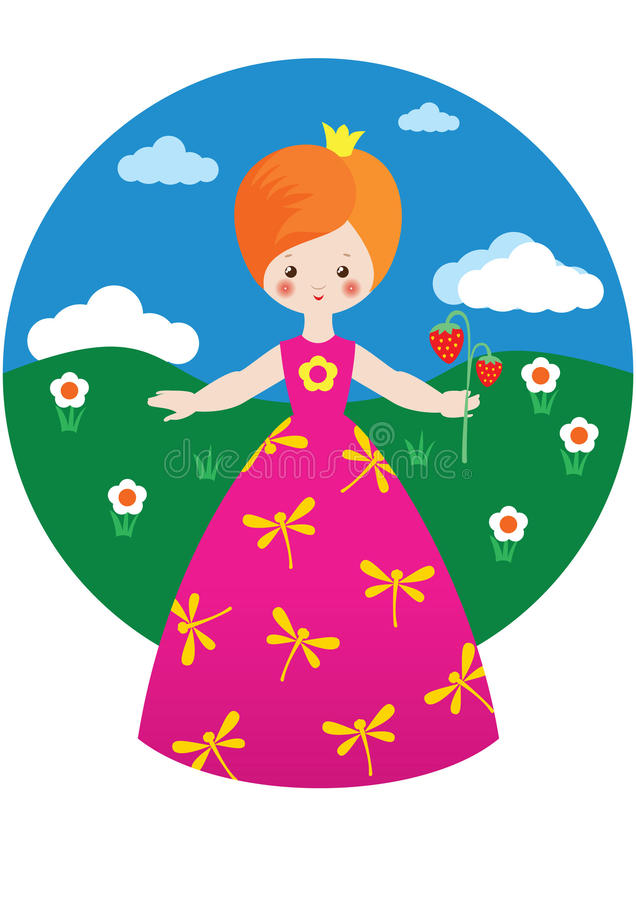 Download Little Princess With Strawberry Stock Vector - Image: 16875367