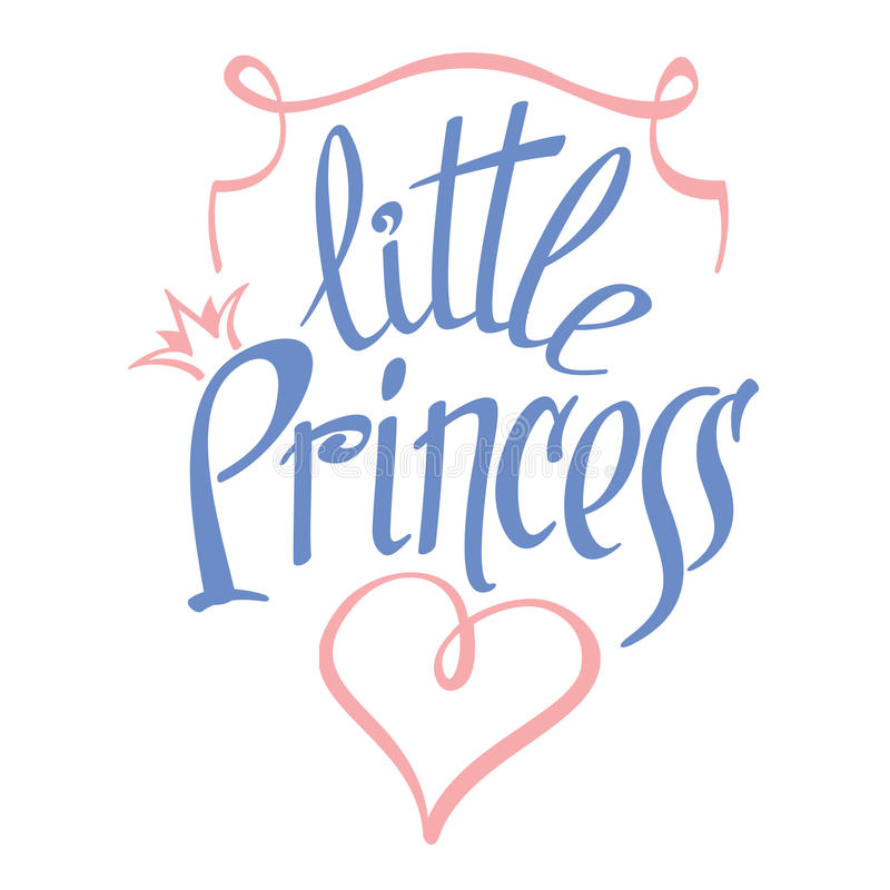 Little Princess vector lettering for girl t-shirt. Little Princess lettering for girl t-shirt design. Crown typography, fashion textile, vector illustration stock illustration