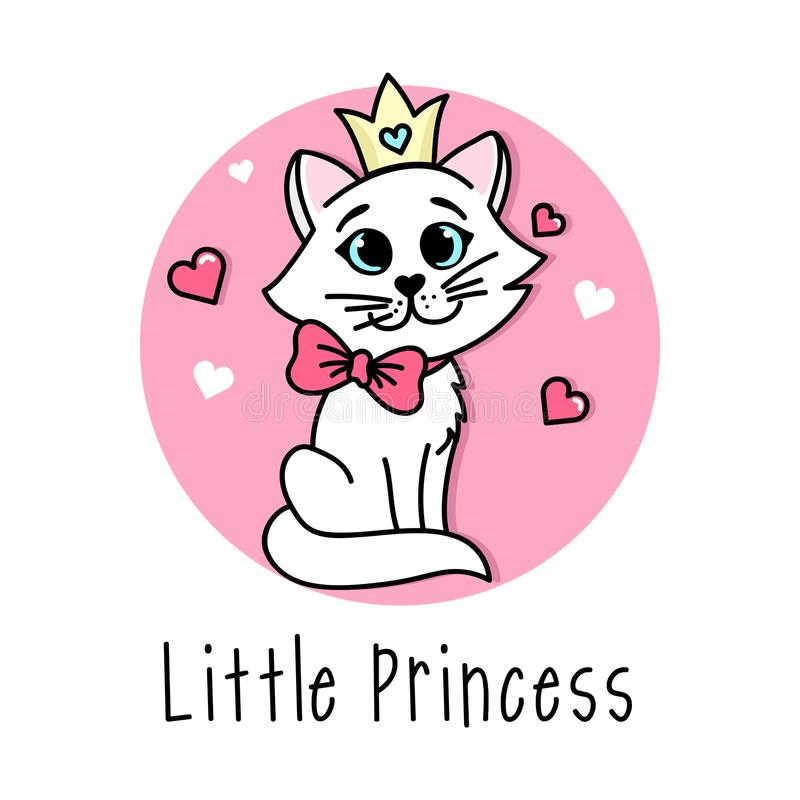 Little Princess Vector poster with cute cat with bow and crown. royalty free illustration