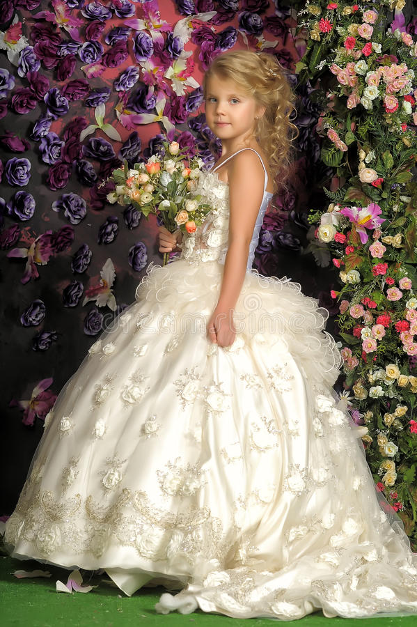 Little Princess In White Dress Stock Photo Image Of