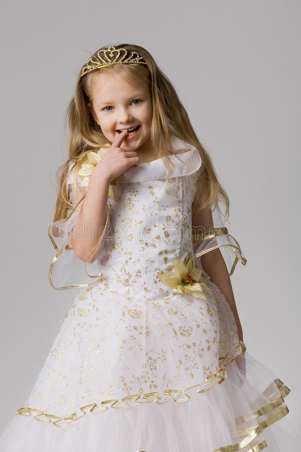 Little princess whith crown on long hair royalty free stock image
