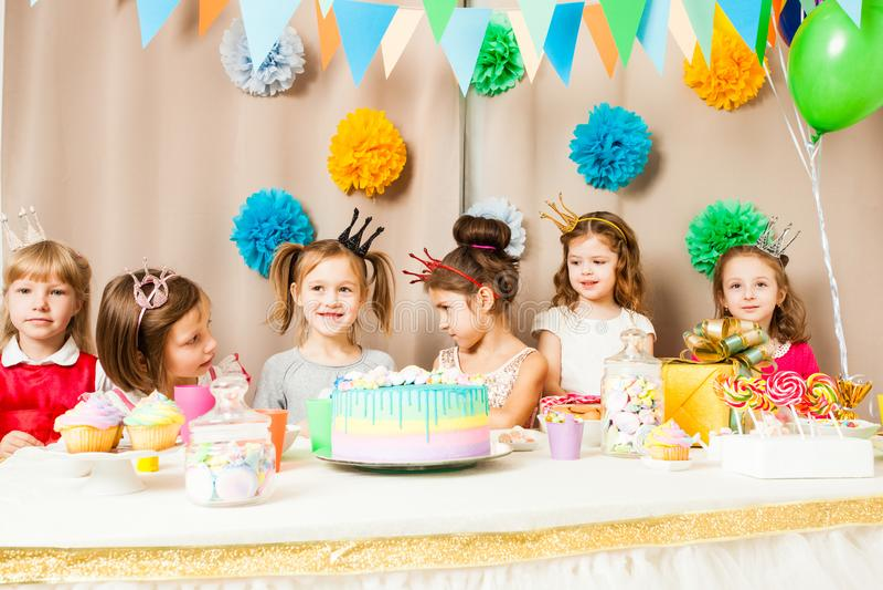 Little princesses are celebrating birthday royalty free stock photo