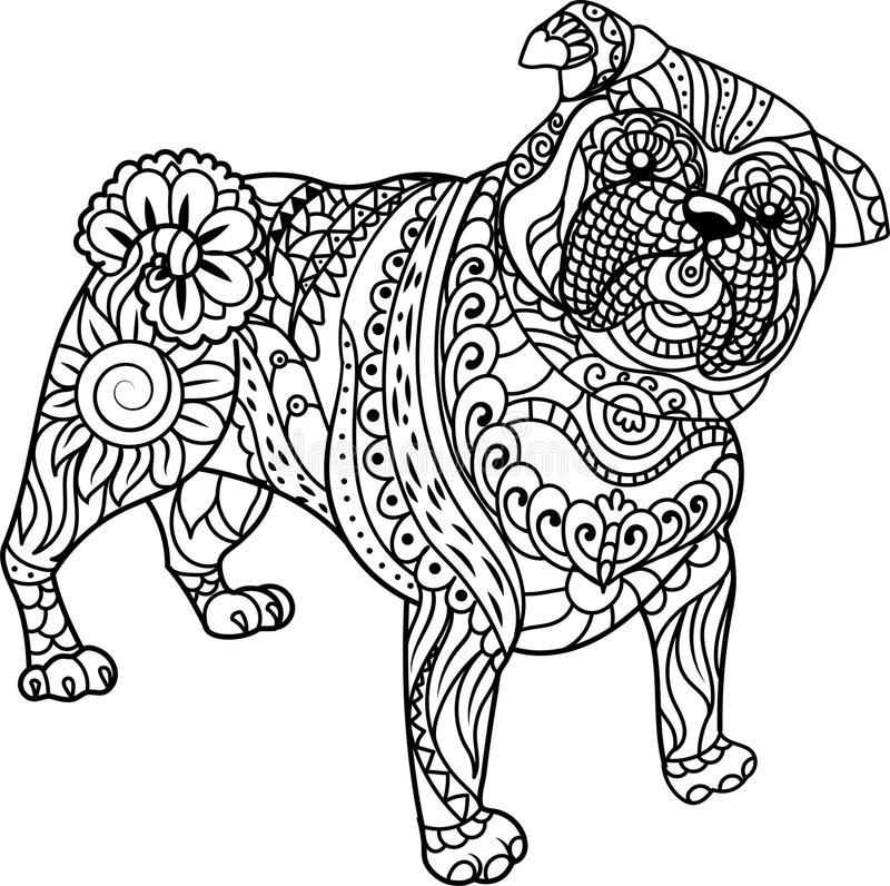 Little Pug on white background. Freehand sketch for adult anti stress coloring book. Little Pug on white background. Freehand sketch for adult anti stress stock illustration