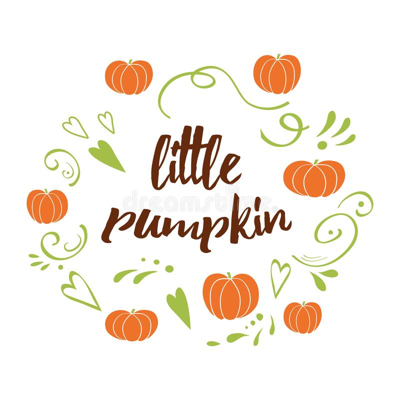 Download Little Pumpkin   Baby Shower Hand Drawn Fall Design With Green  Cute Ornament Stock Illustration