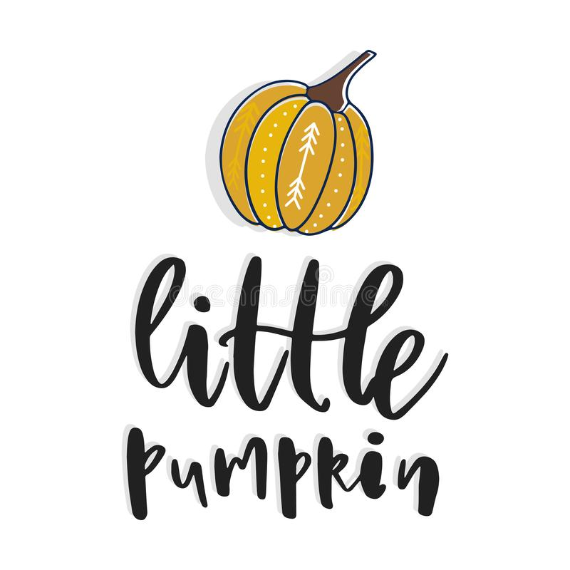 Little pumpkin. Hand drawn vector illustration. Autumn color poster. Good for scrap booking, posters, greeting cards, banners, tex. Tiles, gifts, shirts, mugs or vector illustration