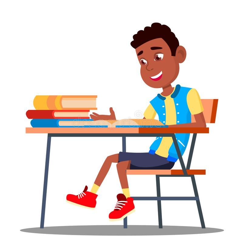 Little Pupil At A Desk Reading Book In The Classroom Vector. Black, Afro American. Isolated Illustration vector illustration