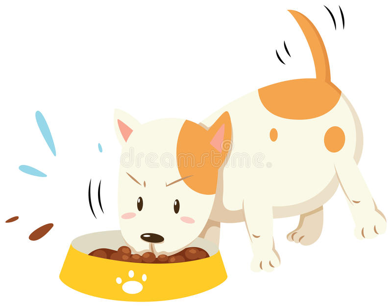 Little puppy eating from the bowl vector illustration