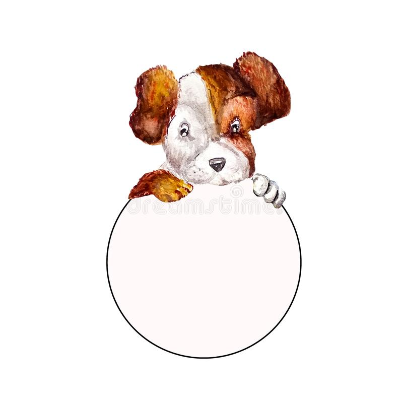 Little puppy jack russell terrier hanging their paws over a white circle banner. Dog holding round empty frame with copy space for royalty free illustration