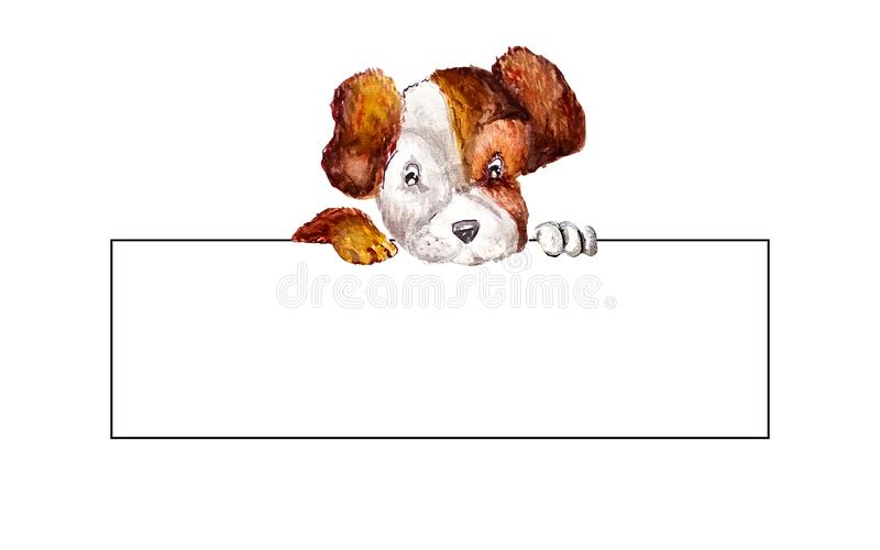 Little puppy jack russell terrier hanging their paws over a white long blank banner. Dog holding rectangle empty blank with copy. Space for text. Watercolor royalty free illustration