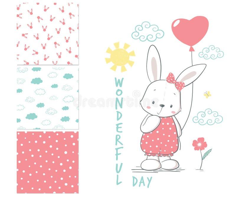 Little Rabbit with balloon. Surface pattern vector illustration