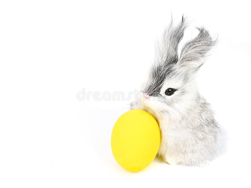 little rabbit and ester eggs stock photo
