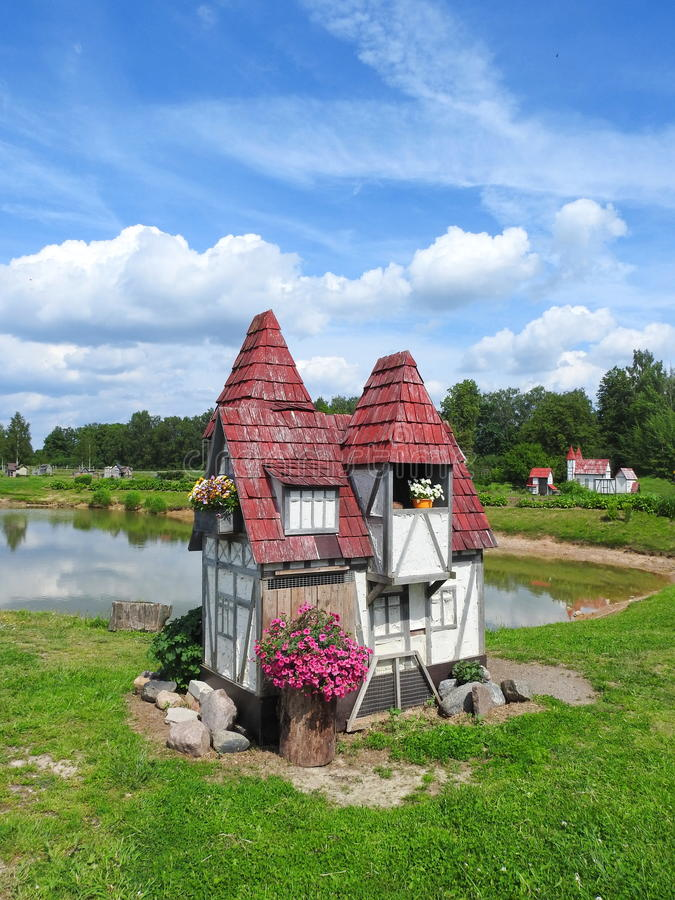 Little rabbit house in garden, Latvia royalty free stock photos