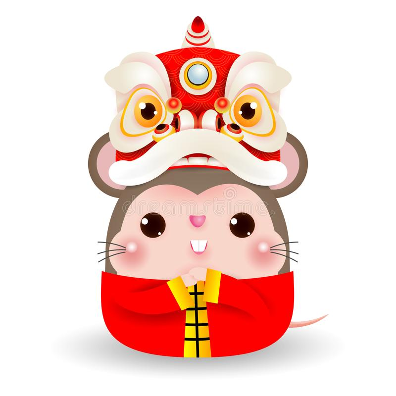 Little rat with Lion Dance Head, Happy Chinese new year 2020 year of the rat zodiac, Cartoon vector illustration isolated vector illustration
