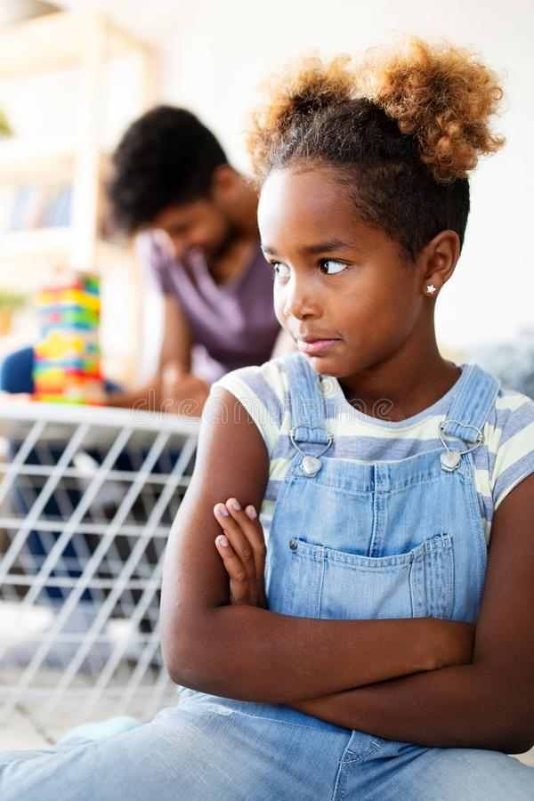 Free Little Rebelious Girl Has Conflict With Family. Family Problems. Social Misbehaviour. Royalty Free Stock Photography - 166157957