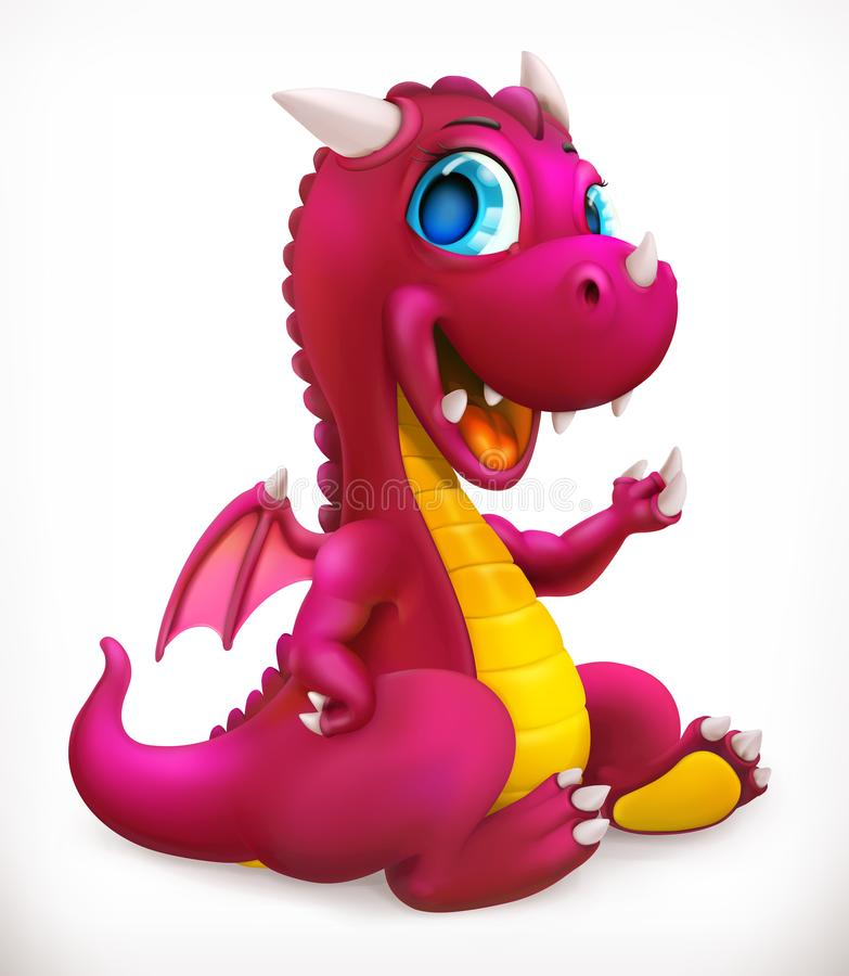 Little red dragon cartoon character. Funny animal, 3d vector icon stock illustration