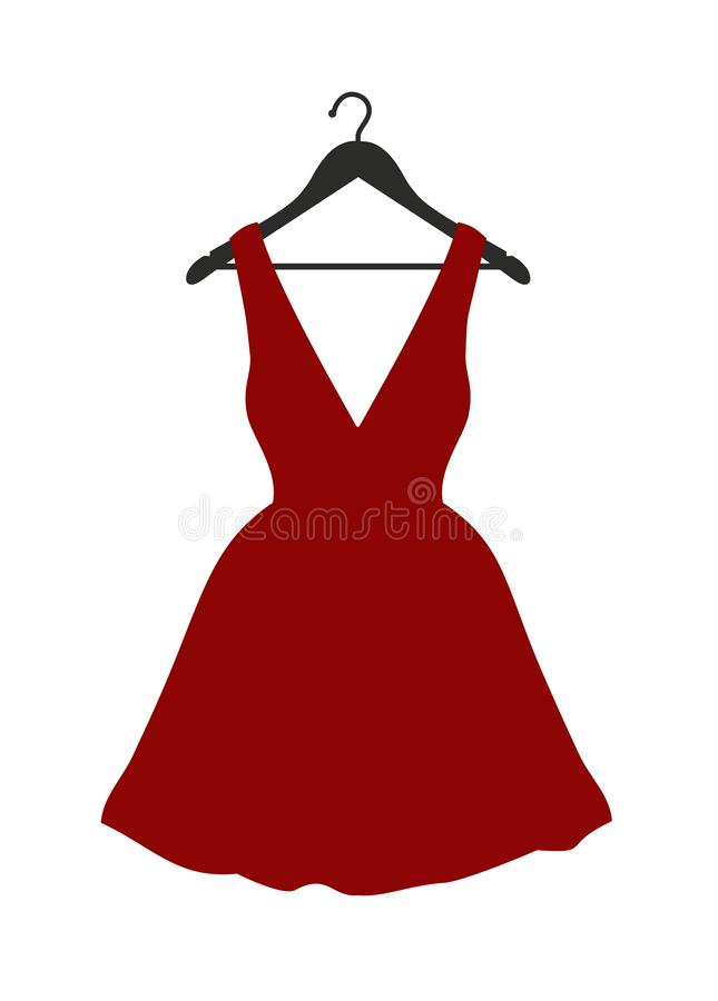 Little red dress on black clothes hanger stock photography