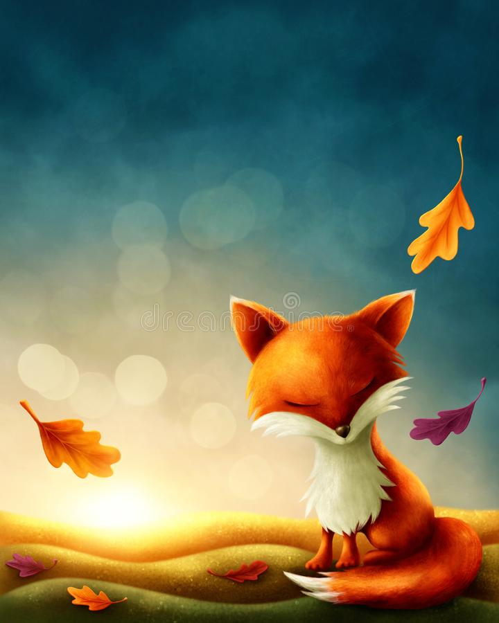 Little red fox. In autumn stock illustration