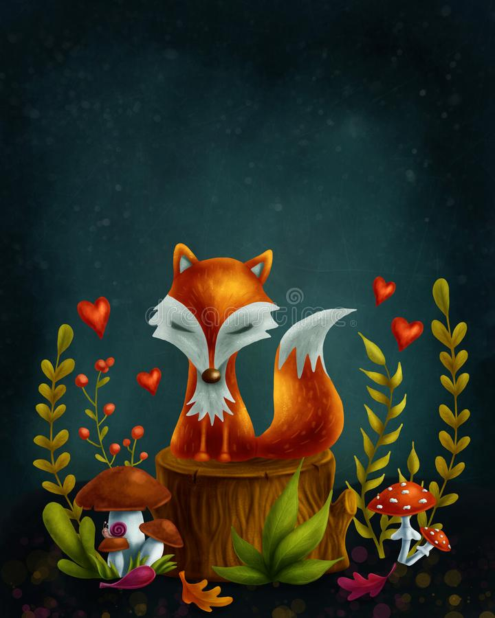 Little red fox. In the magic forest vector illustration