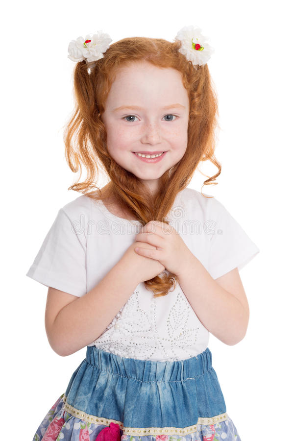 Free Little Red Haired Beauty Girl Stock Photography - 45279562