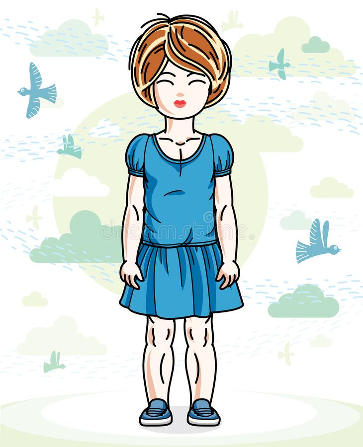 Little red-haired cute girl toddler in casual clothes standing o. N nature backdrop with birds and clouds. Vector illustration of pretty child royalty free illustration