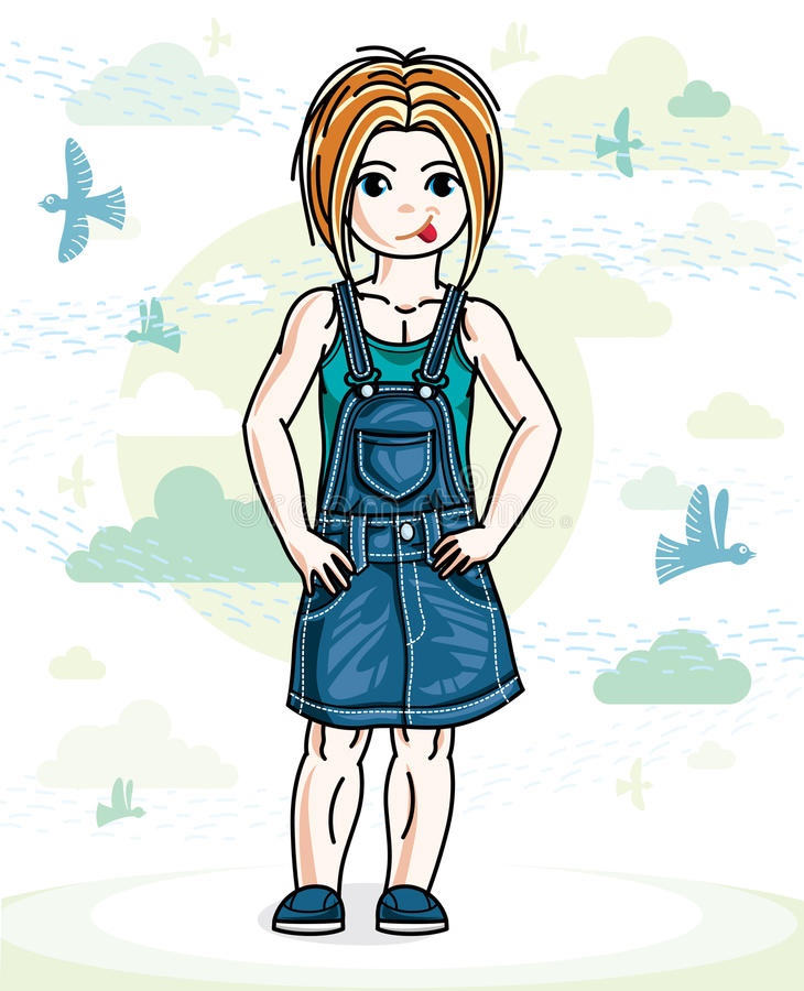 Little red-haired cute girl toddler in casual clothes standing o. N nature backdrop with birds and clouds. Vector illustration of pretty child stock illustration