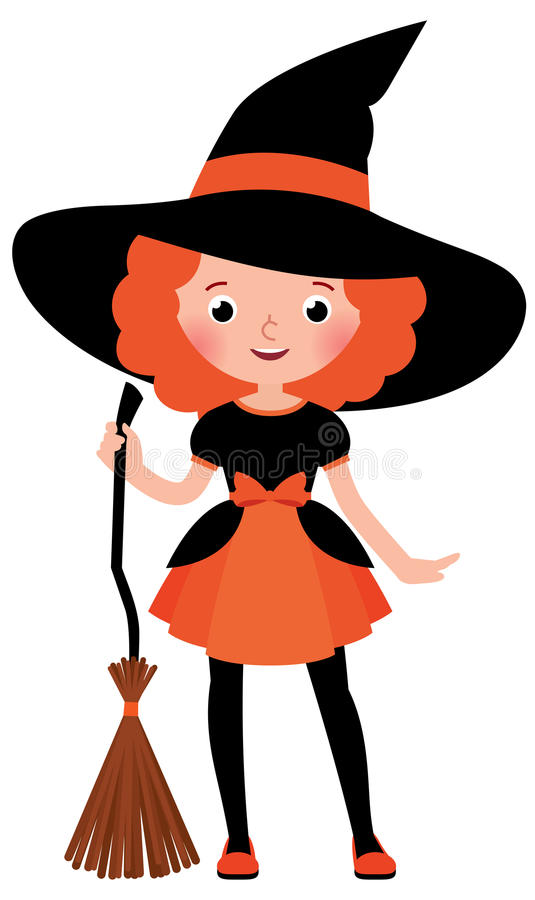 Little red haired girl with a broom in Halloween witch costume vector illustration