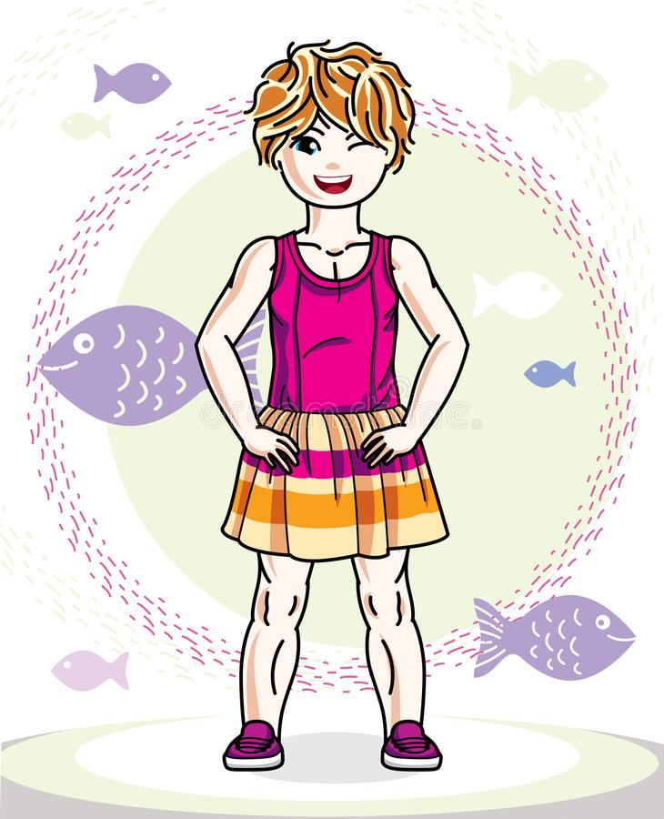 Little red-haired girl cute child toddler in casual clothes stan. Ding on marine backdrop with ocean and fishes. Vector pretty human illustration royalty free illustration