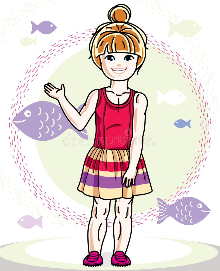 Little red-haired girl cute child toddler in casual clothes standing on marine backdrop with ocean and fishes. Vector pretty human. Illustration vector illustration