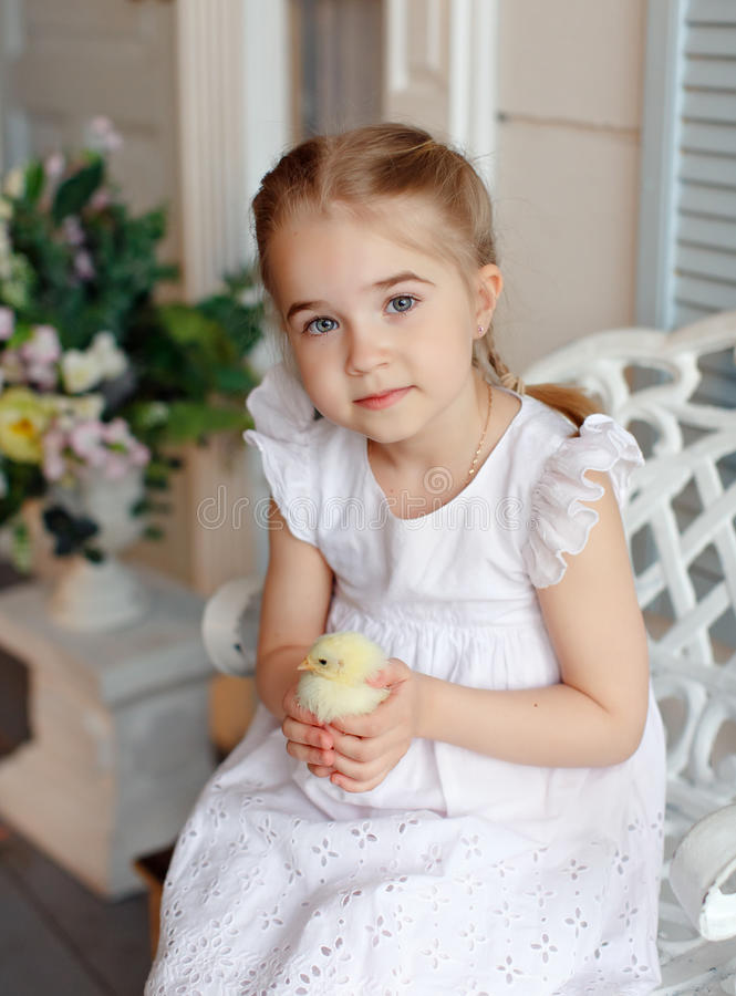 The little red-haired girl with pigtails holding a yellow chicken on a background of white houses and flowers stock photo