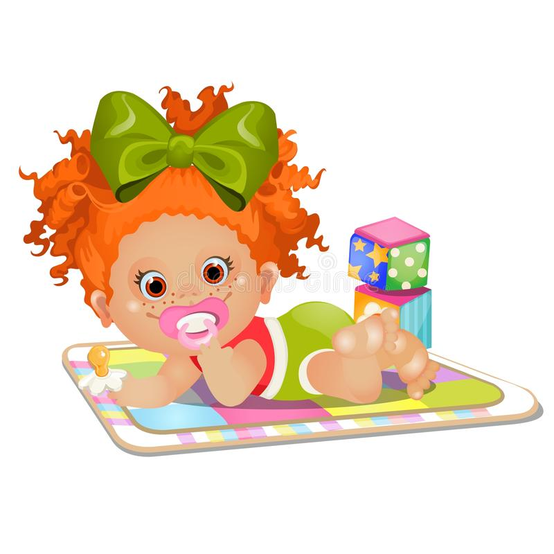 Little red-haired girl sucks a pacifier lying on the rug isolated on white background. Vector cartoon close-up. Illustration vector illustration
