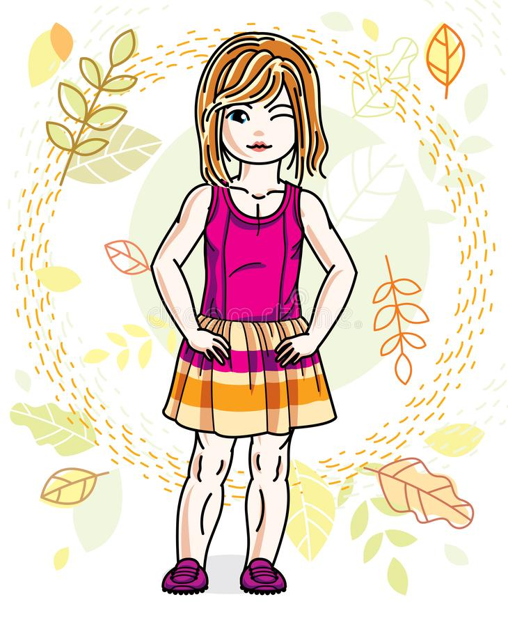 Little red-haired girl toddler standing on background of autumn landscape and wearing fashionable casual clothes. Vector. Attractive kid illustration. Fashion vector illustration
