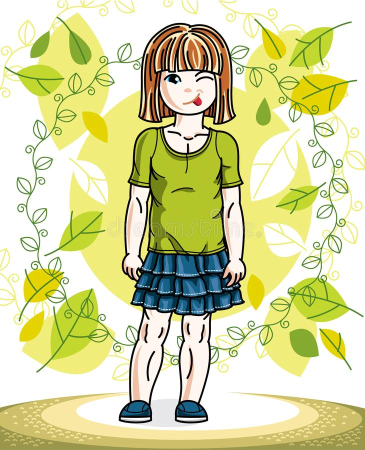 Little red-haired girl toddler standing on background of spring. Landscape and wearing fashionable casual clothes. Vector attractive kid illustration. Fashion stock illustration