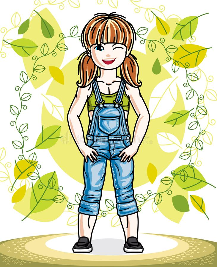 Little red-haired girl toddler standing on background of spring. Landscape and wearing fashionable casual clothes. Vector attractive kid illustration. Fashion vector illustration