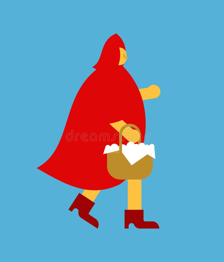 Little Red Riding Hood and Basket of pies. Girl in red cape stock illustration