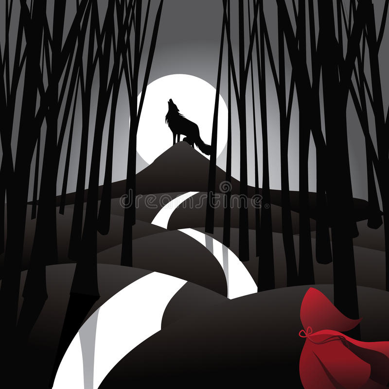 Little Red Riding Hood fairy tale depiction royalty free illustration