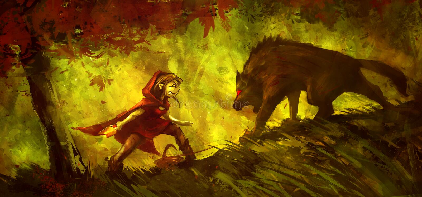 Little Red Riding Hood fighting with a wolf in the forest. Funny color painting royalty free illustration